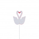Wood swan, to stick, 8cm, pink-white